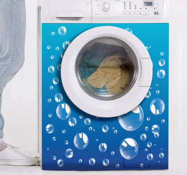 Sticker machine à laver bulles composé de diverses bulles sur fond bleu. Il est disponible dans toutes les dimensions requises. Un produit auto-adhésif facile à appliquer.