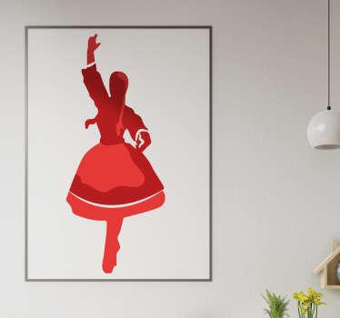 Tradycyjna naklejka krakowiaczek z sylwetka tańczącej dziewczyny do dekoracji wnętrz. Dostępna w wielu rozmiarach i kolorach!