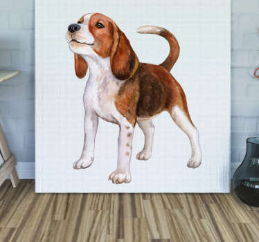 A realistic puppy wall sticker to decorate any space in the house of office. It is available in any required size and easy to apply.