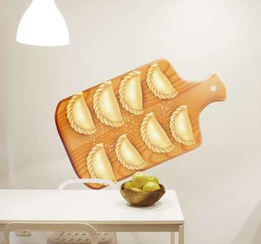 Keuken muursticker met poolse knoedels om de ruimte te versieren. Het is verkrijgbaar in elke gewenste maat en eenvoudig aan te brengen.