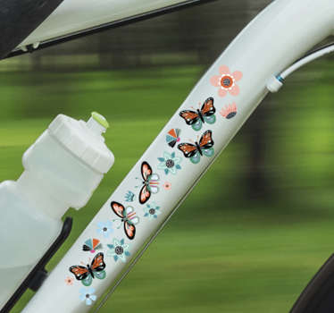 Decorative butterflies and flowers decal for  Bicycle frame. Beautify your bike with this amazing design that is available in any required size.