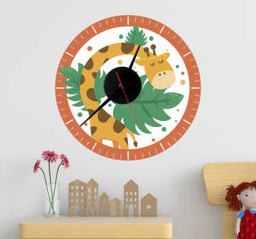 Children clock with giraffe wall sticker for children bedroom decoration. It is available in different size options and easy to apply.