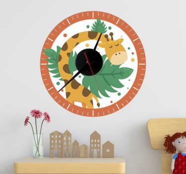Orologio per bambini con adesivo da parete giraffa per la decorazione della camera dei bambini. Disponibile in diverse dimensioni e facile da applicare.