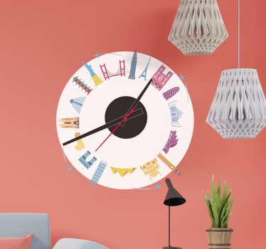 Reloj vinilo pared de monumentos famosos para decorar cualquier espacio de pared plana en el hogar. Es fácil de aplicar ¡Envío a domicilio!