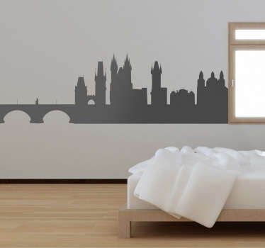 Praha silueta zeď nálepka