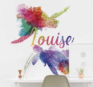 Customisable name animal wall art decal for home decoration. It is a colorful turtle design personalisable in any desired name.