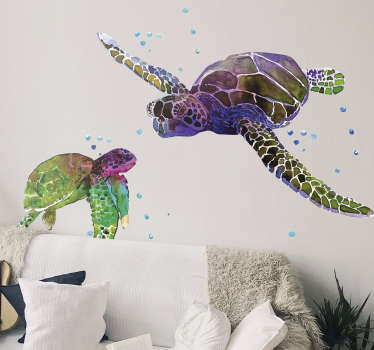 Adhesive animal wall art decal with the design of colorful turtles. It is easy to apply and self adhesive. It is available in any required size.