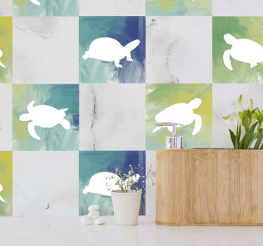 Decorative animal tile sticker with the design of turtle printed on colorful backgrounds to decorate a tile space. It is self adhesive.