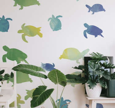 An adhesive animal vinyl wall sticker with the design of colorful prints of turtles. We have it in any size required and it is self adhesive.
