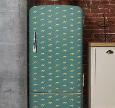 Sticker décoratif frigo avec des impressions de tortues sur fond coloré. Il est disponible dans toutes les tailles souhaitées. Facile à appliquer et adhésif.