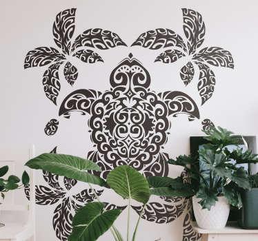 Sticker décoratif d'art mural dessin animal avec la conception d'une tortue de style palmier. Il est disponible dans toutes les tailles requises.