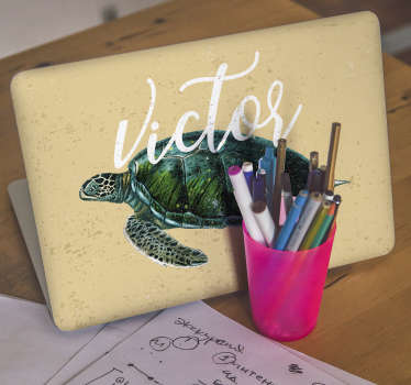 Decorate a laptop with this lovely turtle animal impression that is customisable in any name of choice. We have the design in any size of choice.