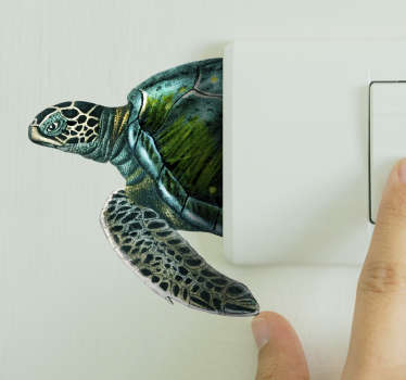 Adhesive sea turtle decal to decorate light  switch covers in the home. It comes in different sizes and customisable in any required dimension.