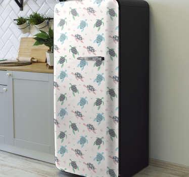 Vinil autocolante decorativo para frigorífico com padrão de Tartarugas de cor suave. Uma decoração para a superfície da porta da frigorífico.