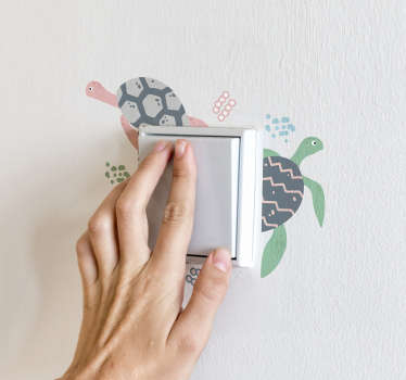 Soft colored light switch decal to decorate the surface of the switch area in the home. It is featured with colour prints if turtles.
