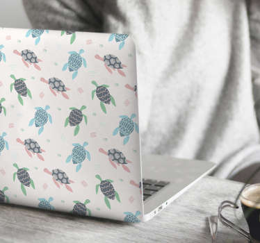 Soft color turtles laptop sticker to decorate a laptop in marine style. It has the colorful prints of turtle and it is available in any size.