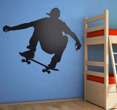Use this skateboarding wall decal of a boy jumping through the air on his board. This action-packed silhouette wall sticker is available in a variety of different sizes and colours so you can personalise your teens room the way you want.