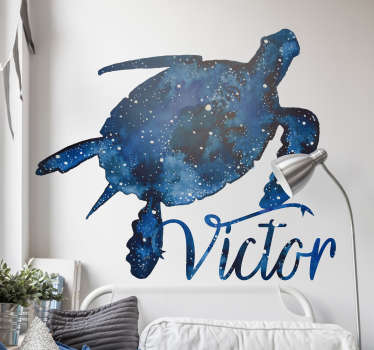 Personalisable a name on our turtle wall art decal with prints of galaxy patterned on it. It is available in any required size.
