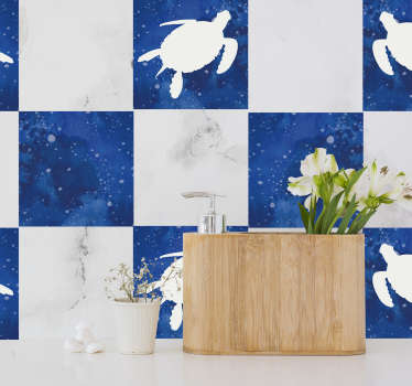An adhesive waterproof tile sticker with the design of turtle and galaxy pattern. A nice kitchen and bathroom decoration.