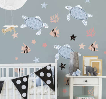 Turtles and fish under Sea animal wall sticker to decorate the bedroom space of children. It is easy to apply and adhesive.