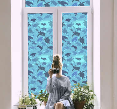 Swimming turtles window sticker to decorate any window surface in the home. It is easy to apply and self adhesive. It is available in any size.