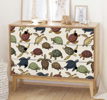 Decorative turtle prints furniture sticker to decorate the furniture in the home. It is available in any required dimension.