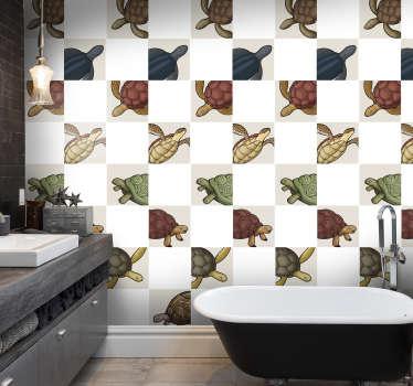 Adesivo decorativo piastrelle animali tartaruga con stampe di tartarughe colorate per decorare uno spazio cucina o bagno con superficie di piastrelle.