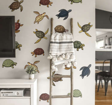 Decorate the home with our original animal wall sticker designed with colorful images of varieties of turtles. It is available in any required size.