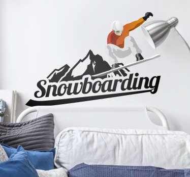 Sticker decorativo silhouette snowboard