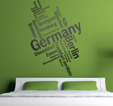 Berlin, Hamburg, München... Mit diesem besonderen Deutschland Wandtattoo können Sie Ihrer tristen Wand einen neuen Look verleihen.