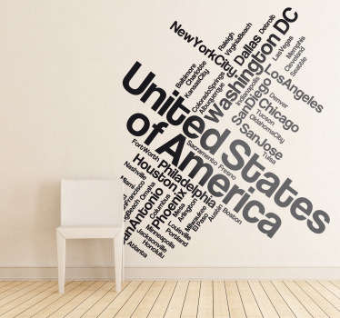A text decal illustrating the main cities of the United States. Brilliant monochrome sticker for those American lovers to put in the favourite room!