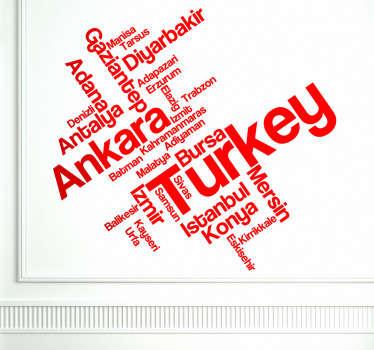 Autocollant mural texte Turquie