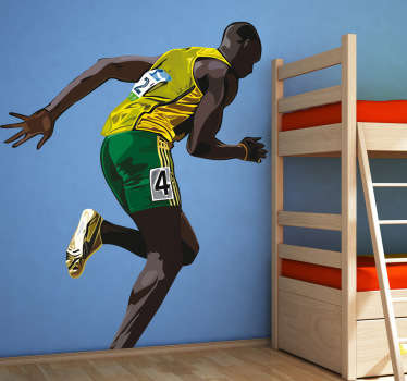 A sport sticker of Usain Bolt, the Jamaican athlete. This athlete decal of the 100 metre champion is perfect to decorate any space or sport centre.