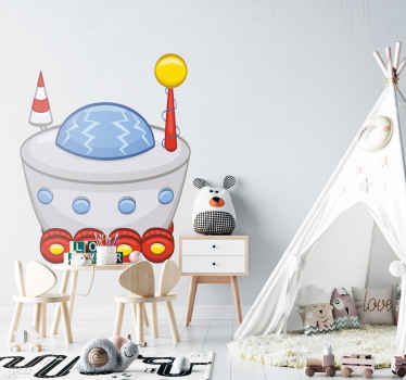 Kids Wall Stickers - Playful and fun design of a spaceship with wheels. Ideal for decorating areas for children.