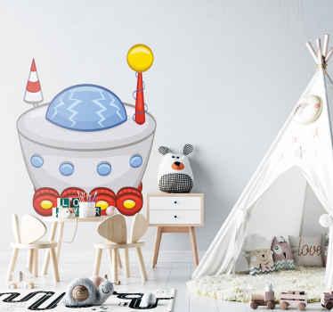 Wandtattoo Kinderzimmer Raumschiff mit Rädern
