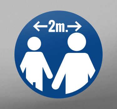 Vinilo distancia seguridad 2 metros de distancia para colocar en puertas o paredes. Es fácil de aplicar y puedes elegir el tamaño ¡Envío a domicilio!