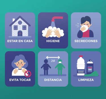 Vinilo advertencia del kit covid-19. Se presenta con varias medidas de salud ilustrativas para covid 19. Fácil de aplicar ¡Envío a domicilio!