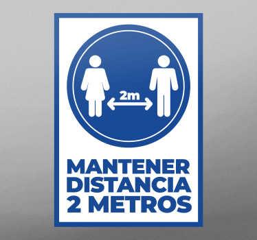 Vinilo distancia seguridad 2 metros para cualquier puerta o para la pared. Disponible en cualquier tamaño ¡Envío a domicilio!