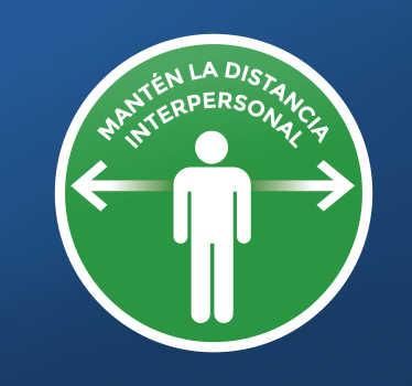 Vinilo distancia seguridad verde redonda para colocar en la pared o puerta para crear conciencia de distancia segura ¡Envío a domicilio!