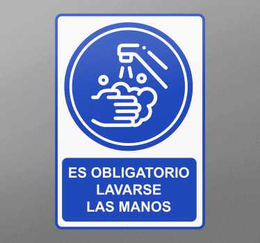 Pegatina advertencia de lavado a mano creada con la imagen impresa de diseño de lavado de manos. Está disponible en cualquier tamaño