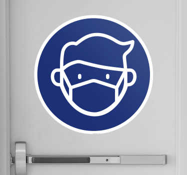 Decorative nose mask signage vinyl sticker to place on doors and wall space of choice to notify people of using mandatory mask.