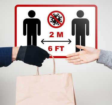 Vinilo distancia seguridad para lugares públicos y de negocios. Está diseñado con la medición de distancia para mantener una distancia segura