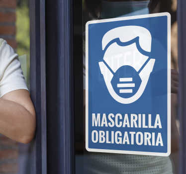 Pegatina advertencia para cristales de uso de máscara para lugares públicos para instruir a las personas a usar la máscara. Es facil de aplicar