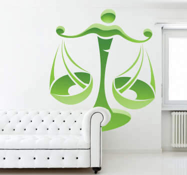 A Libra zodiac sign decal for those born during the period of 23rd September and 22 October. If you're a Libra this horoscope sticker is for you!  Stunning green design of the iconic scales of justice, making everything balanced and fair.