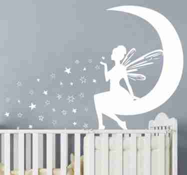 Decorative fairy wall sticker to beautify the bedroom space of children featured with a fairy on the moon blowing stars.