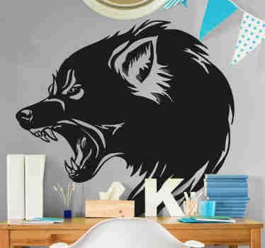Sticker tête de loup animal sauvage pour décorer avec élégance tout espace que vous souhaitez. Il est disponible dans toutes les tailles requises et il est auto-adhésif.