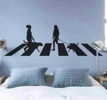 Zebra crossing with people silhouette sticker to decorate any flat wall surface. The design features people on a zebra crossing.