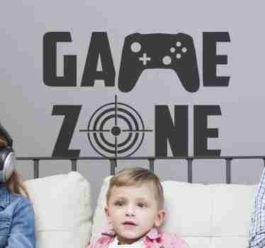 Gamer zone video game sticker to decorate bedroom space of teens.  It is featured with text and a video console image. Buy it in any size needed.