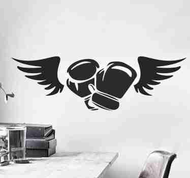 Boxing gloves with wings wall sticker to decorate any flat space of choice . The design is customisable in different colour options