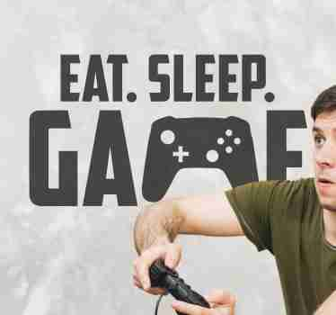 Decorative teens video game wall sticker. The design is created with text '' eat, sleep, game and a game console image. It is available in any size.